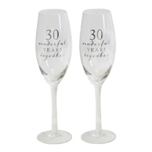 Amore Champagne Flutes Set of 2 - 30th Anniversary